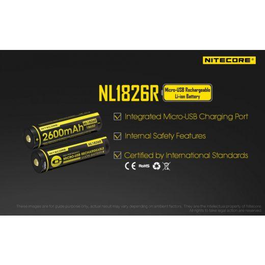 Nitecore 18650 3,6V 2600 mAh USB-s Li-Ion akkumulátor