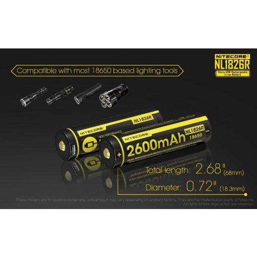 Nitecore 18650 3,6V 2600 mAh USB-s akkumulátor