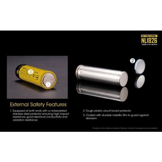 Nitecore 18650 3,7V 2600 mAh védett Li-Ion akkumulátor