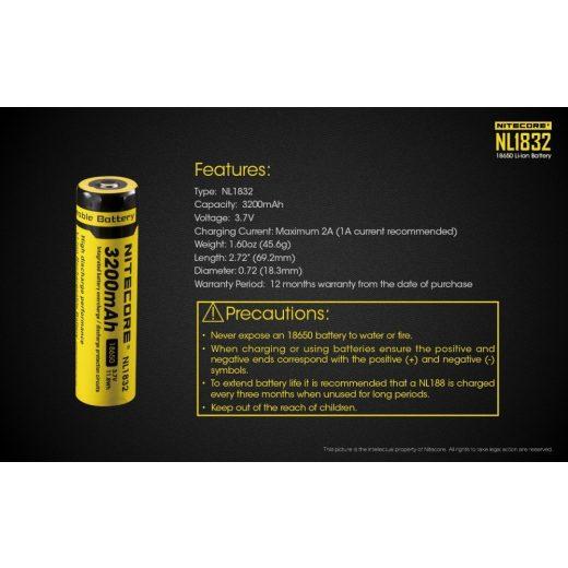 Nitecore 18650 3,7V 3200 mAh védett Li-Ion akkumulátor