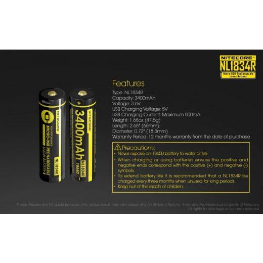 Nitecore 18650 3,6V 3400 mAh USB-s akkumulátor