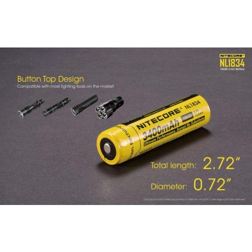 Nitecore 18650 3,7V 3400 mAh védett Li-Ion akkumulátor