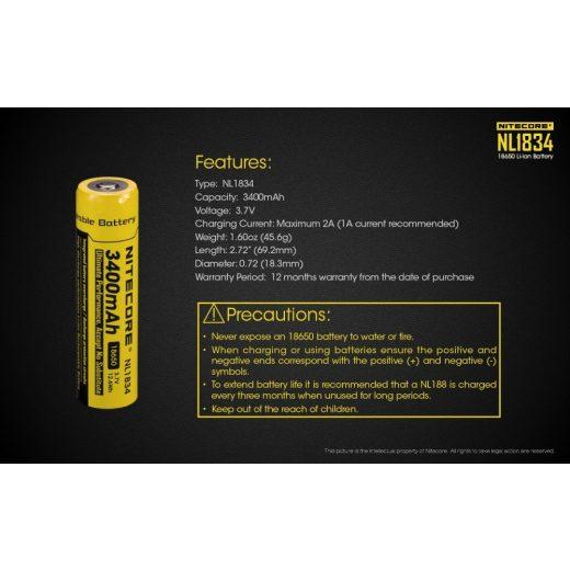 Nitecore 18650 3,7V 3400 mAh védett akkumulátor