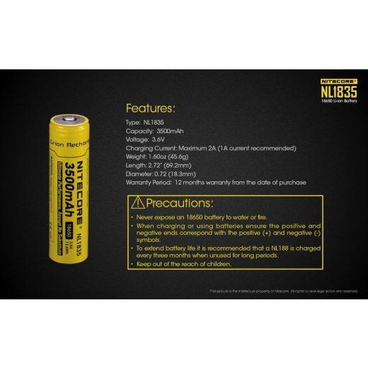 Nitecore 18650 3,6V 3500 mAh védett Li-Ion akkumulátor
