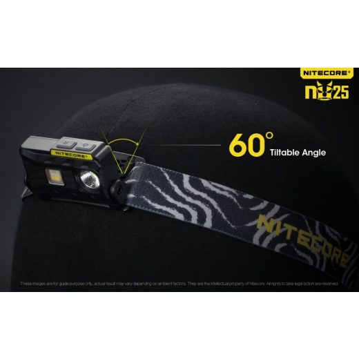 Nitecore NU25 Fejlámpa - Sárga - 360 lm - USB - Beépített Akku