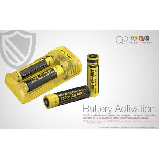 Nitecore Q2 Li-Ion Akkumulátor Töltő - Lemonade