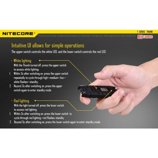 Nitecore Thumb Elemlámpa - 85 lm - USB - Beépített Akku
