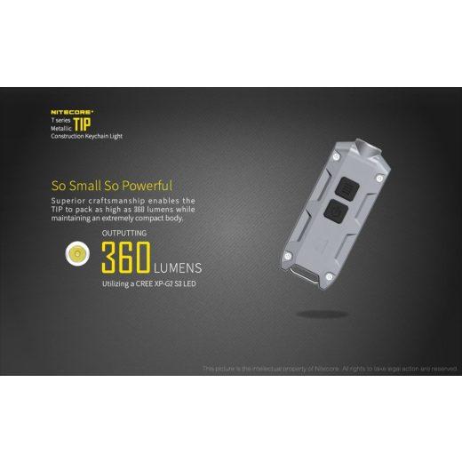 Nitecore TIP Elemlámpa - Ezüst - 360 lm - USB - Beépített Akku