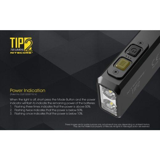 Nitecore TIP2 Elemlámpa - 720 lm - USB - Beépített Akku