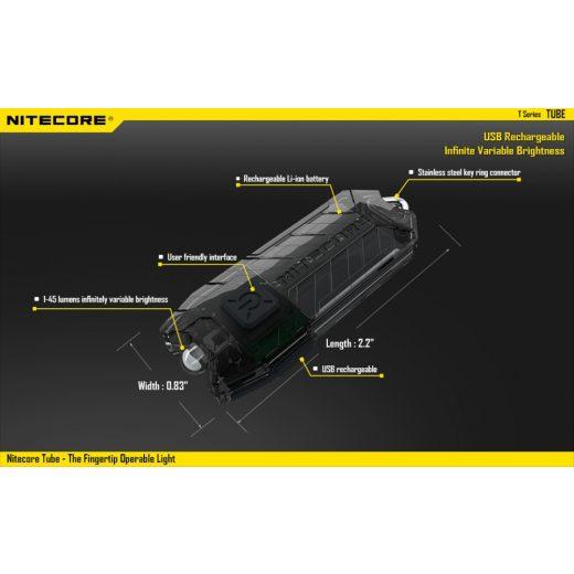 Nitecore Tube Elemlámpa - Pink - 45 lm - USB - Beépített Akku