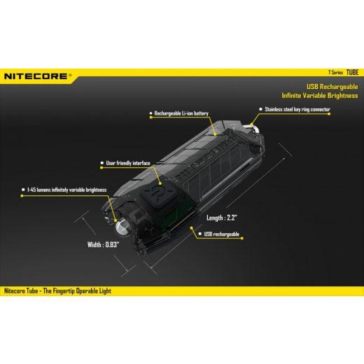 Nitecore Tube Elemlámpa - Átlátszó - 45 lm - USB - Beépített Akku