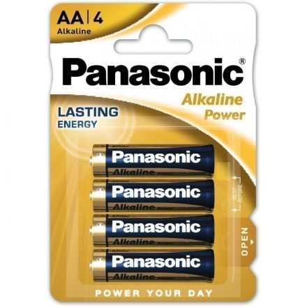 Panasonic Alkaline Power AA LR6 Ceruza Elem x 4 db