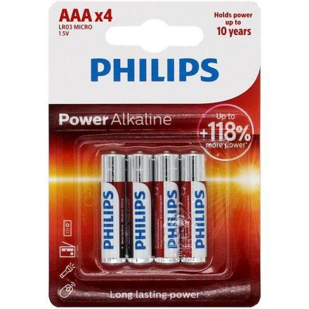 Philips Power Alkaline AAA LR03 Mikro Elem x 4 db