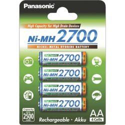 Panasonic High Capacity AA 2700 mAh NiMH akkumulátor BK-3HGAE - 4 db