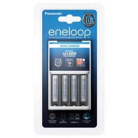 Panasonic Eneloop BQ-CC51 Töltő + 4 db AAA Akkumulátor