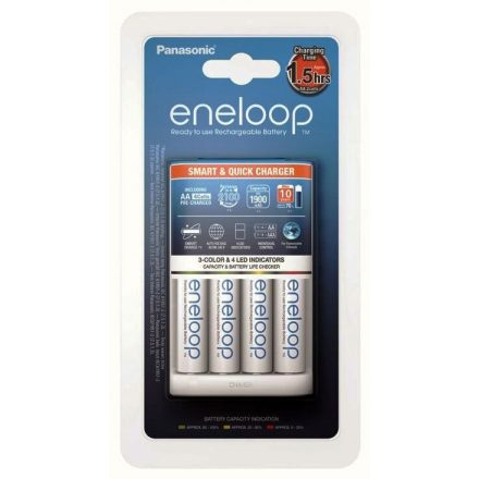 Panasonic Eneloop BQ-CC55 Akkumulátor Töltő + 4 db AA Akkumulátor