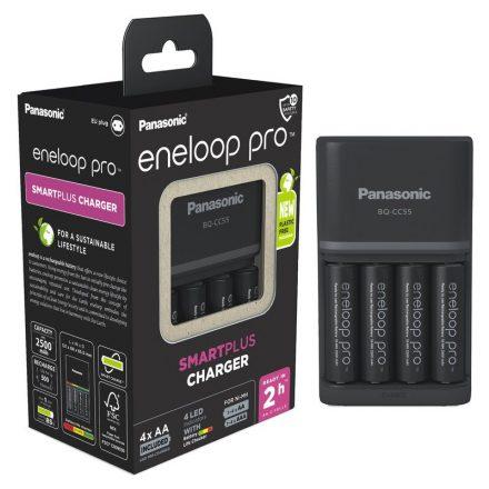 Panasonic Eneloop Pro BQ-CC55 Akkumulátor Töltő + 4 db AA Akkumulátor