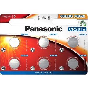Panasonic CR2016 Lítium Gombelem, 6 db