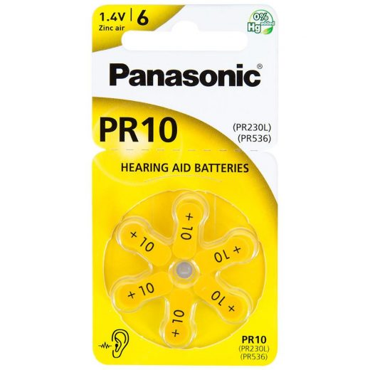 Panasonic PR10 Hallókészülék Elem, 6 db