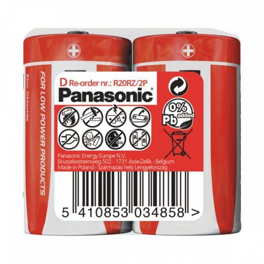 Panasonic Zinc Féltartós D Góliát Elem, 2 db fóliában