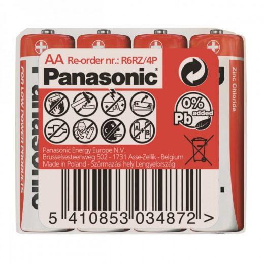 Panasonic Zinc Féltartós AA Ceruza Elem, 4 db fóliában