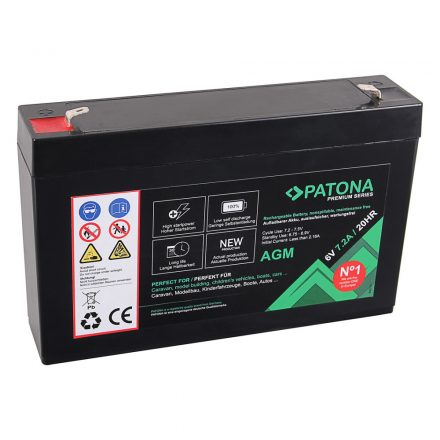 Patona Premium AGM 6V 7,2Ah 20HR akkumulátor