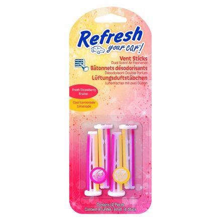 Refresh Your Car - Fresh Strawberry & Cool Lemonade - Autóillatosító Stick - 4 db