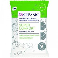 Cleanic Super Comfort Intim Törlőkendő - Lehúzható - 10 db