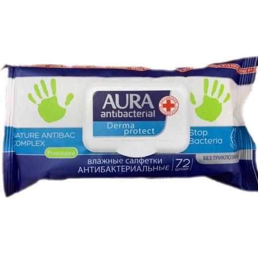 Aura Derma protect antibakteriális törlőkendő - 72 db