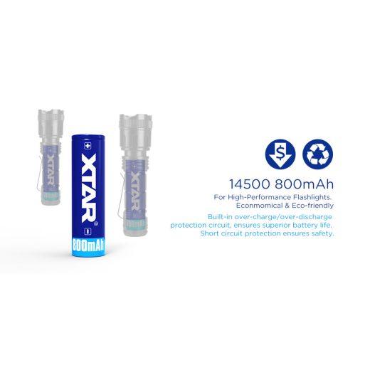 Xtar 14500 3,7V 800 mAh védett Li-Ion akkumulátor
