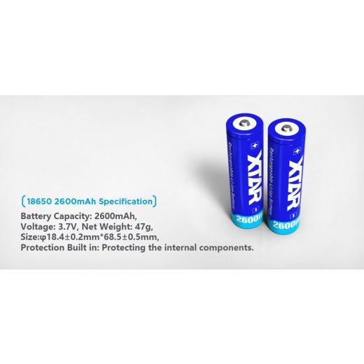 Xtar 18650 3,7V 2600 mAh védett Li-Ion akkumulátor