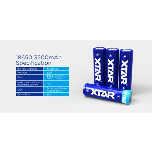 Xtar 18650 3,6V 3500 mAh védett Li-Ion akkumulátor